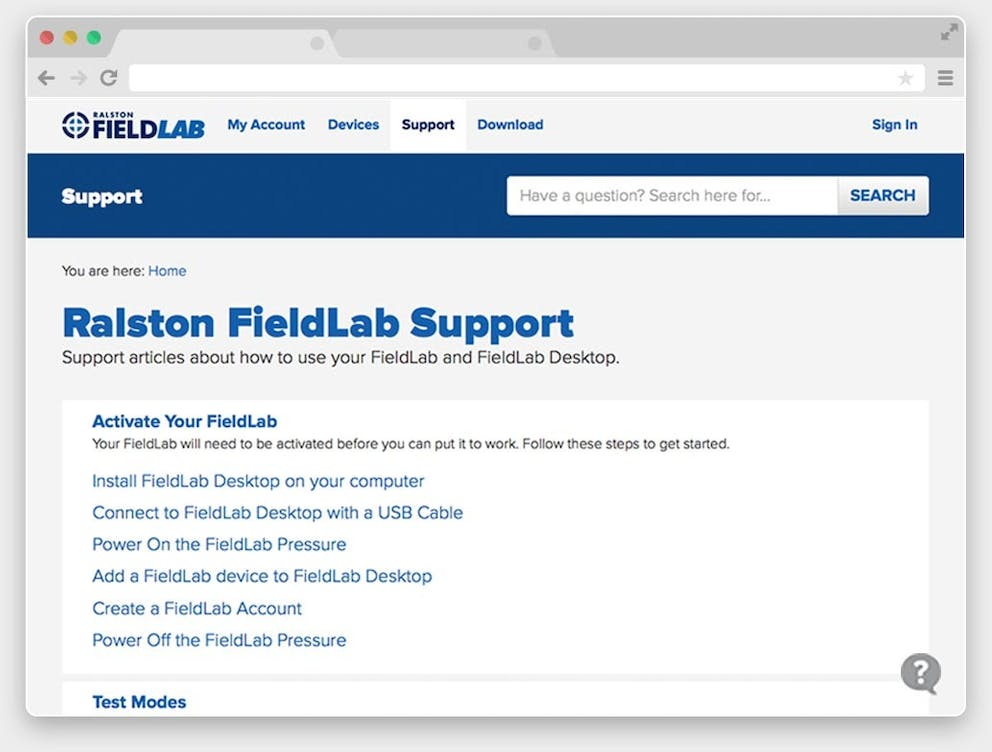 Ralston Fieldlab Support