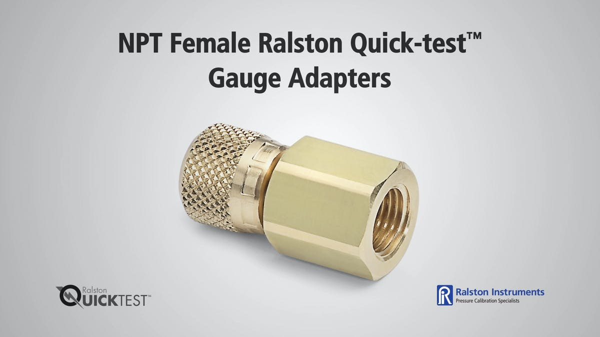 Npt female ralston quick test gauge adapter