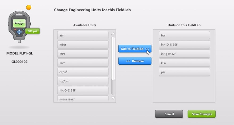 Engineering Units Ralston Fieldlab Desktop Software